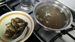 The broth turn brown and has an earthy taste and smell.