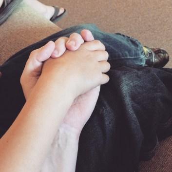 David holding my hand.