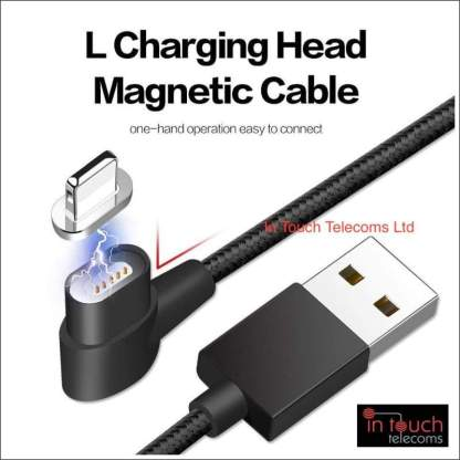 3 in 1 Right Angle Magnetic Knit Braid Micro, Lightning, Type-C Data Cable