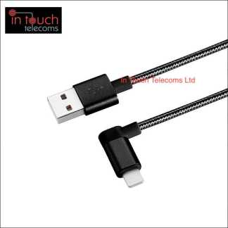 Lightning Right Angle Braided Charger 1.2M - iPhone Charger (Black)