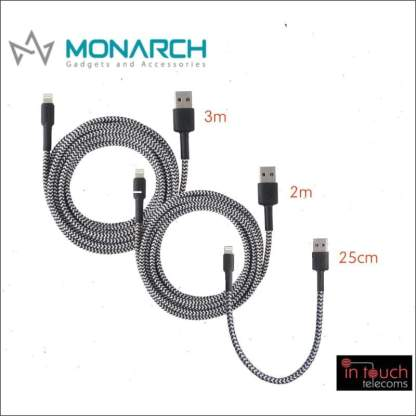 Monarch Braided Lightning Charging Cable for iPhone | 0.25, 2 & 3 Metres