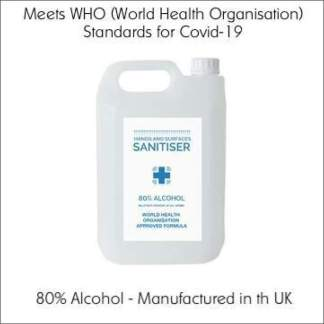 5L 80% Alcohol Hand Sanitiser | Meets the WHO Standards for Covid-19