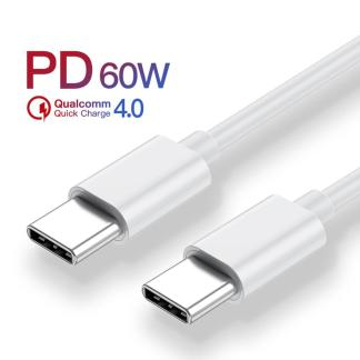 USB PD 60W Fast Qualcomm Charging Cable for Macbook Samsung Cable | White