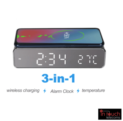 LED Digital Alarm Clock with Wireless QI Charger | Samsung / iPhone