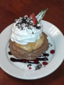 The Patio | Fresh biscuits, chocolate mousse, whipped cream and chocolate shavings with a strawberry on top.