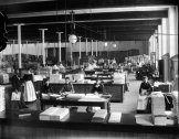 (image courtesy of Manchester Historic Association) | Interior view of the Cloth Room in an unknown mill.