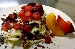 Dancing Lion Chocolate | crisp pineapple-Axiom dark chocolate slaw with warm apple chutney and fresh plums