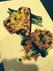 XOonElm | Swordfish topped with lobster mango salsa Japanese style rice and grilled asparagus