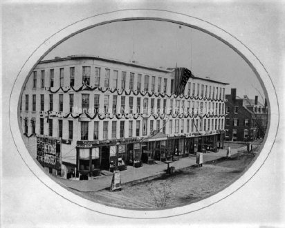 Smyth Block on Elm Street in mourning for President Lincoln's death in 1865.