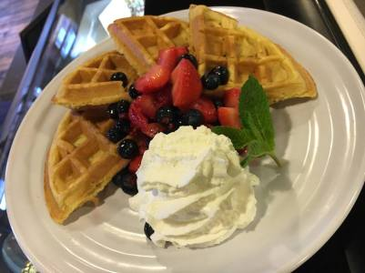 Waterworks Cafe   waffles and fruit!