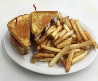 Red Arrow Diner   BBQ Chicken Melt, served with french fries