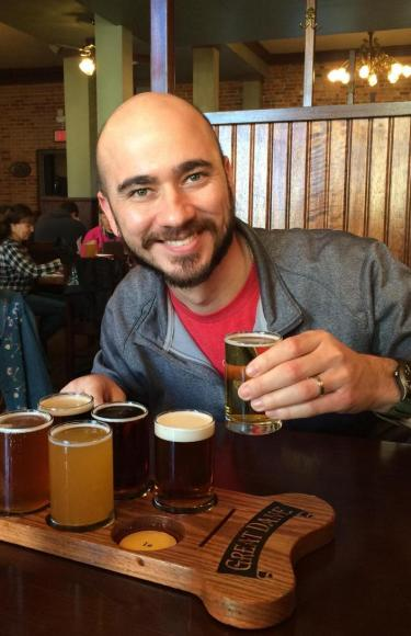 Sampling beers at the Great Dane Pub