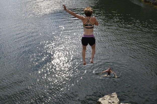 Jumping into Sheridan Lake