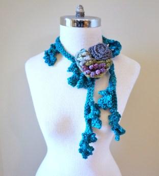 floral vine knit scarf blue4