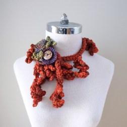 floral vine orange scarf5