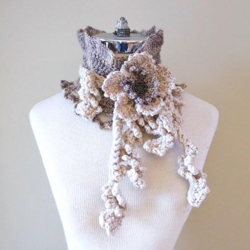 floral vines ivory beige scarf