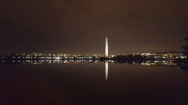 Washington Monument as seen from a bridge close to the Jefferson memorial.
