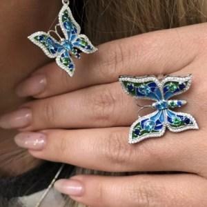 срібний набір прикрас метелики