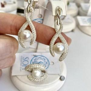 срібний гарнітур з перлами фото