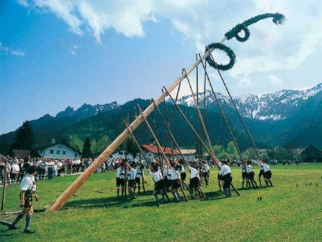 Festa albero della cuccagna in Baviera