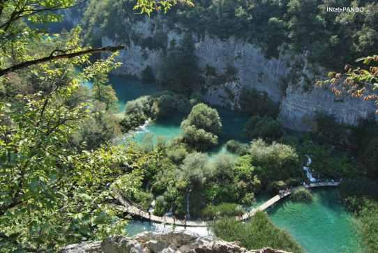 Panorama dall'alto dei laghi di Plitvice