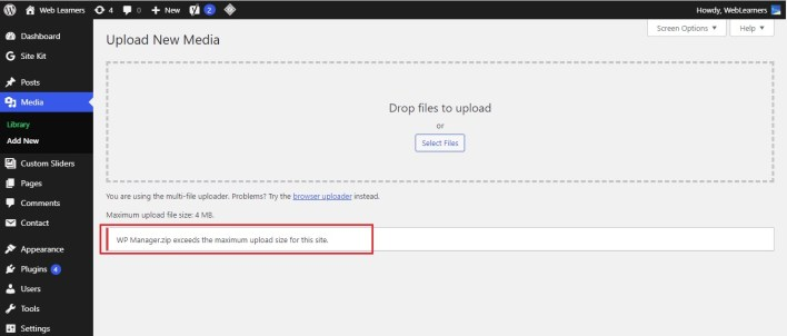 Error while uploading a large file in WordPress