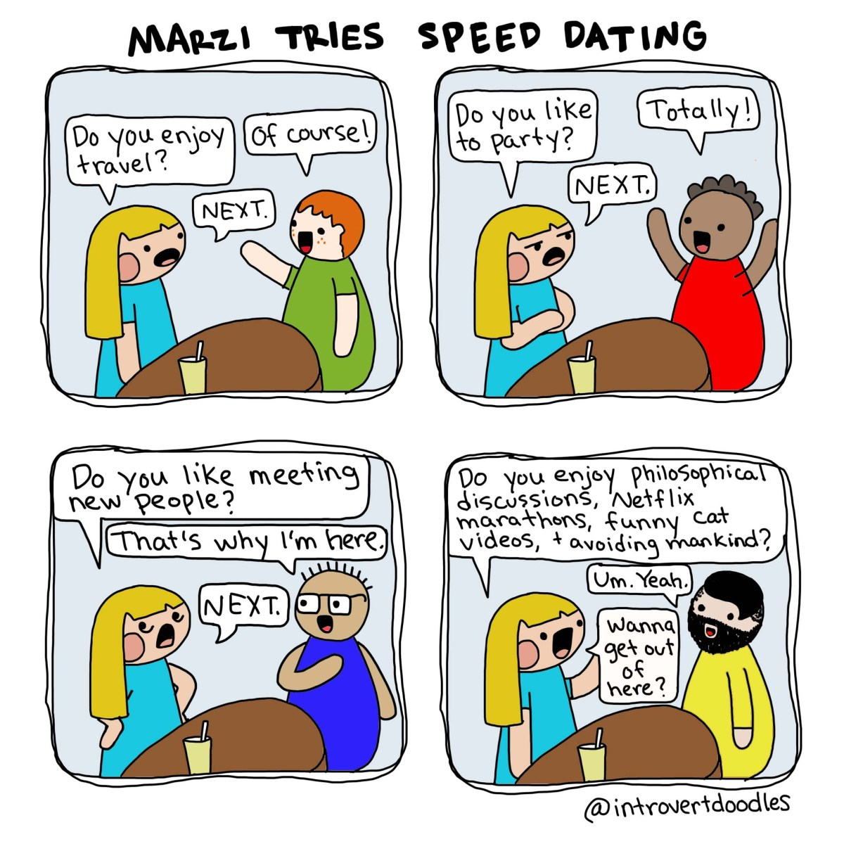 Speed Dating Introvert Doodles