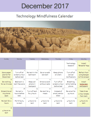 tech mindfulness calendar