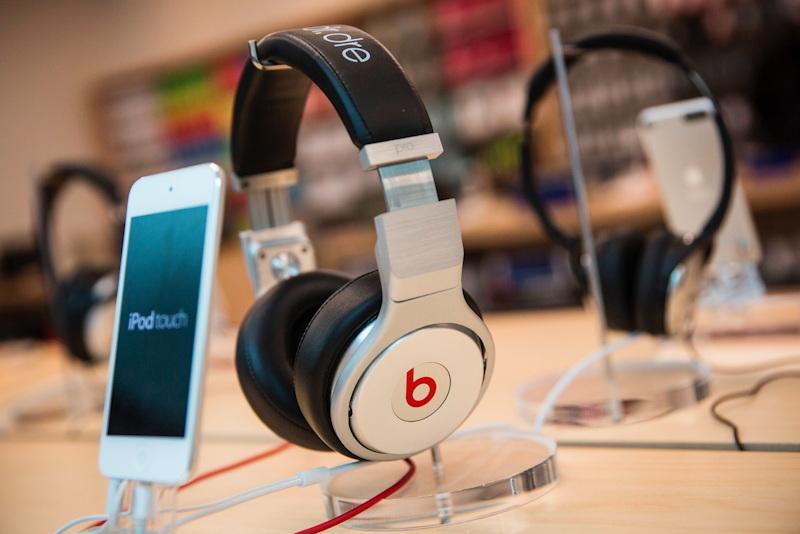 Beats headphones at an Apple Store.