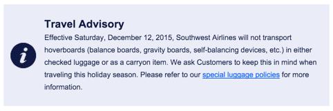 no hoverboards on southwest airlines plane flights