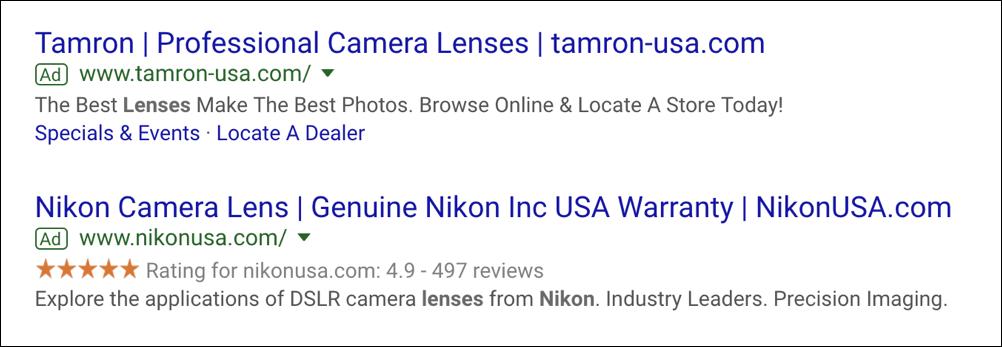 google search ads - nikon lens