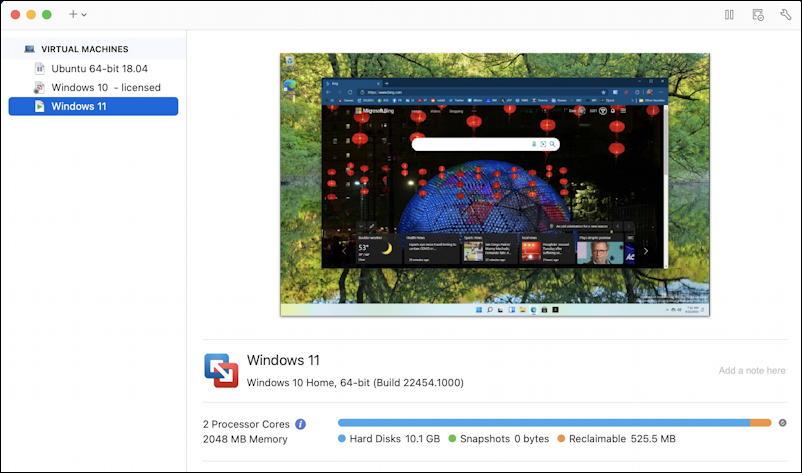 vmware fusion - linux windows 10 11