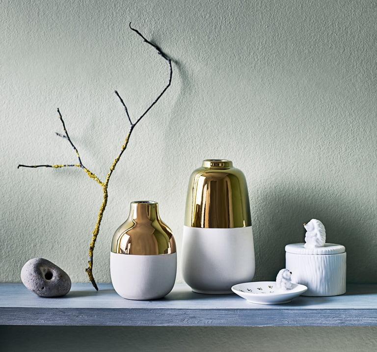 Tesco White and Gold Vases