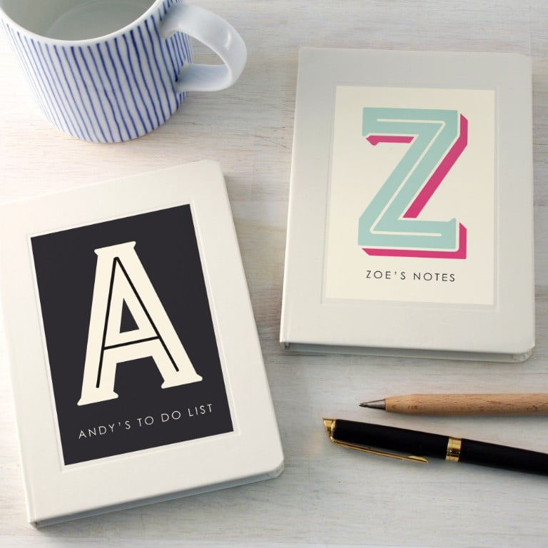 Personalised Typographic Notebook