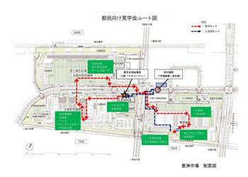 豊洲市場見学ルート図
