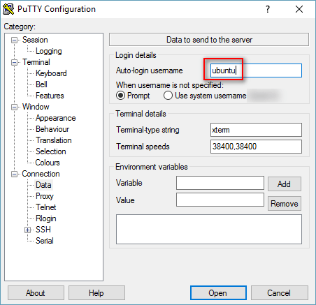 Figure 3: Adding your server login name