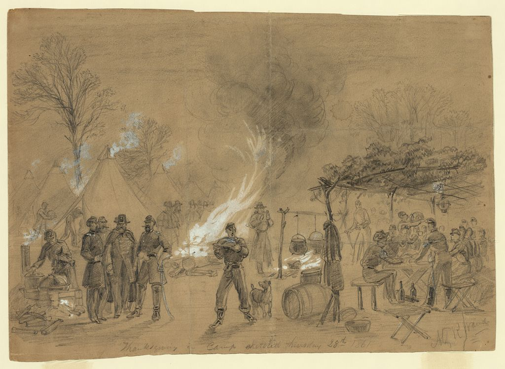 Thanksgiving in Camp 1861 - Sketch by Alfred Waud (Library of Congress Image)