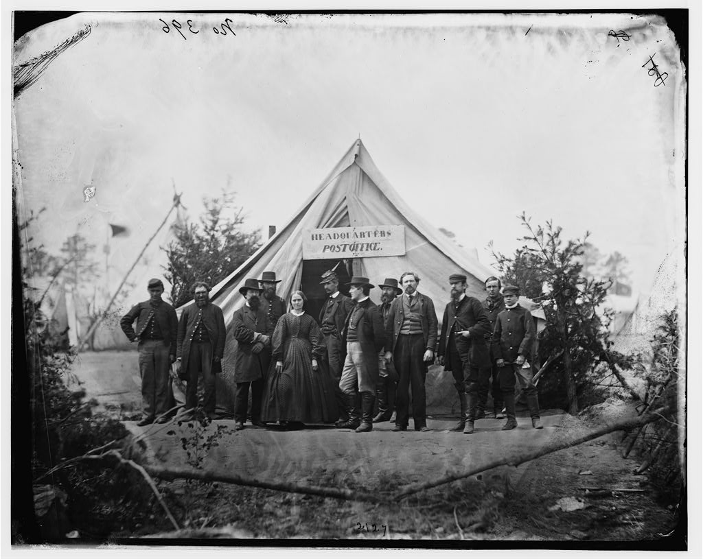 Falmouth, Va. Group in front of post office tent at Army of the Potomac headquarters