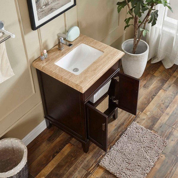 single sink vanity with mahogany wood in riverside county
