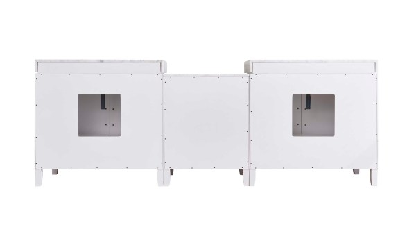 back side of double white vanity beaumont 96 inch vanity