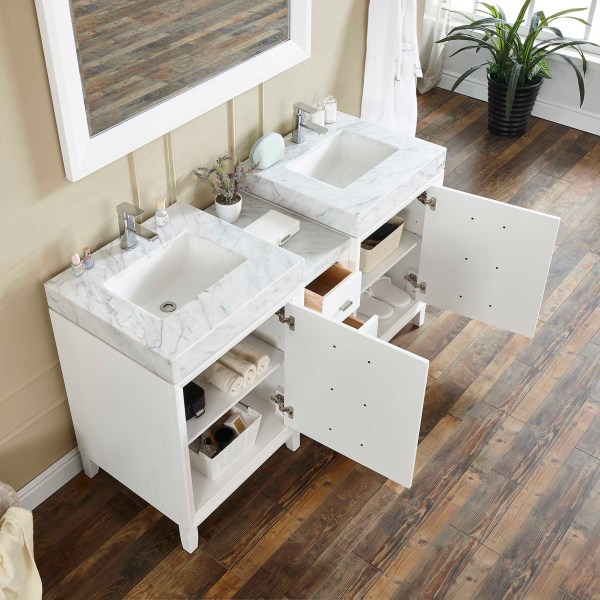 riverside 60 double vanity with luxury open drawers
