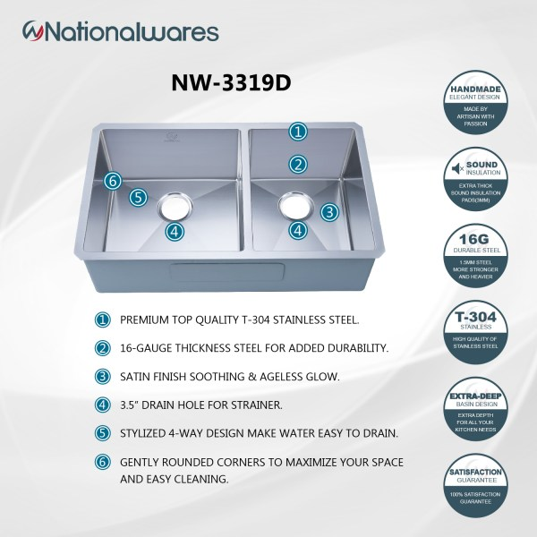 nationalwares double sink insert kitchen insert norco, ca