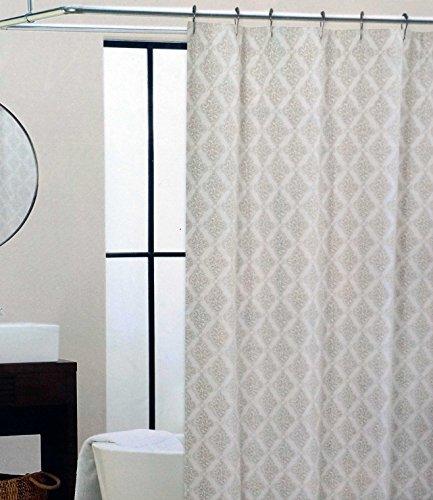 tahari fabric shower curtain palace back beige medallions on white check back soon