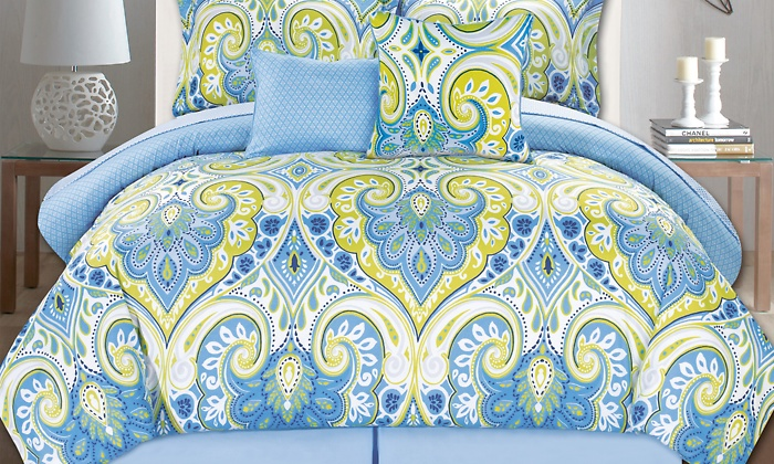 city place design 10pc bed set blue green design size queen check back soon