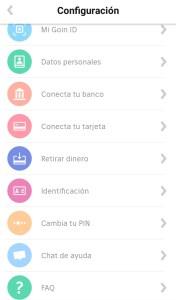 configuracion de la cuenta en la app