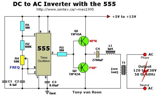 12VDC to 220VAC Inverter with 555 Timer - Inverter Circuit and Products