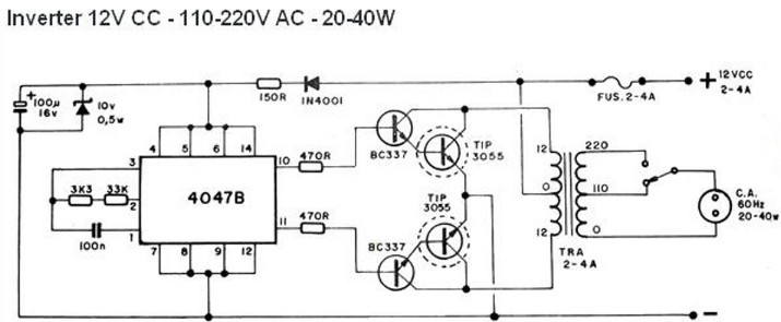 40W Inverter Circuit 12VDC to 110/220VAC