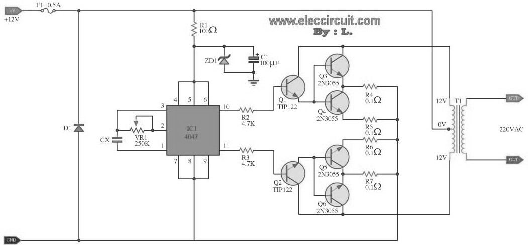 Power Inverter Circuit Diagram With Pcb Layout