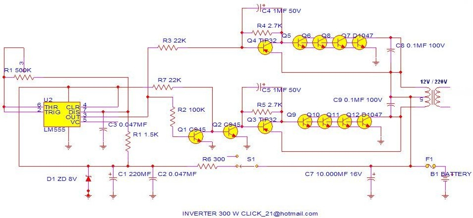 500w Power Inverter Circuit Based Tip35c