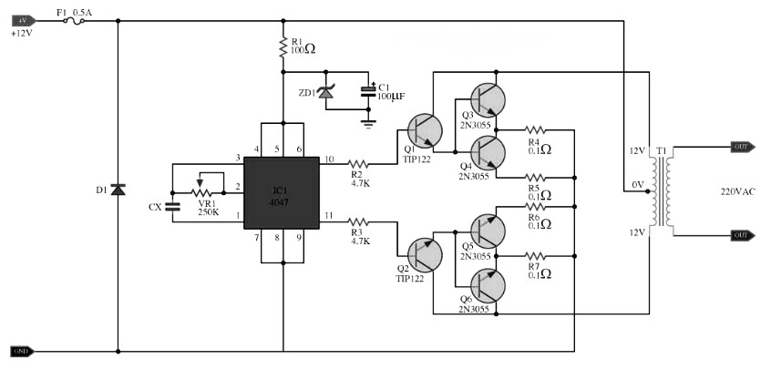 inverter circuit diagram 12v 500w pdf